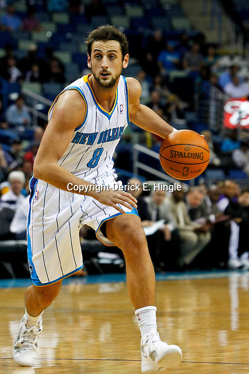 February 6, 2012; New Orleans, LA, USA; New Orleans Hornets shooting guard Marco Belinelli (8) against the Sacramento Kings during the first quarter of a game at the New Orleans Arena.   Mandatory Credit: Derick E. Hingle-US PRESSWIRE
