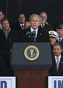 President George W. Bush at The 2008 Veterans Day  Ceremonies at the Intrepid Sea, Air, & Space Musem on November 11, 2008 in NYC