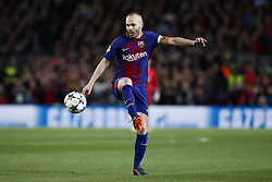 April 4, 2018 - Barcelona, Catalonia, Spain - April 4, 2018 - Barcelona, Spain - Uefa Champions League Quarter final first leg, FC Barcelona v AS Roma: Andres Iniesta of FC Barcelona controls the ball. (Credit Image: © Marc Dominguez via ZUMA Wire)
