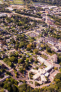 Aerial photograph of beautiful, historic Stoughton, Wisconsin, USA.