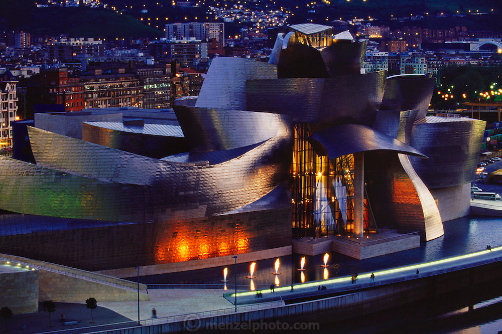 Early evening view of the Guggenheim Art Museum, Bilbao, Spain designed by architect Frank Gehry.