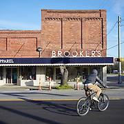 DENMARK, SOUTH CAROLINA - JANUARY 22: A young person rides their bike across the street in downtown Denmark, SC on January 22, 2020.  The town is hoping to use Clyburn's 10-20-30 program to make necessary upgrades to their water system. (Photo by Logan CyrusforThe Washington Post)