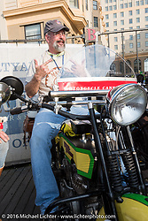 John Pfeiefer of Texas on his 1916 Harley-Davidson on the Atlantic City boardwalk at the start of the Motorcycle Cannonball Race of the Century. Stage-1 from Atlantic City, NJ to York, PA. USA. Saturday September 10, 2016. Photography ©2016 Michael Lichter.