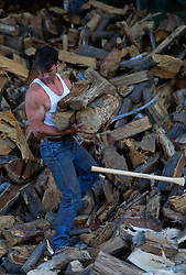 Muscular man carrying cut wood from an enormous pile of wood