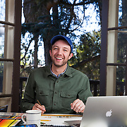 Children's book author and illustrator Jon Klassen at his Los Angeles home where he works in the dining room. Please email your licensing questions or requests to Legal[at] ToddBigelowPhotography[dot]com
