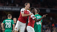 Football - 2018 / 2019 UEFA Europa League - Group E: Arsenal vs. Vorskla Poltava<br /> <br /> Stephan Lichtsteiner (Arsenal FC) leaps onto Danny Welbeck (Arsenal FC) to celebrate with him after the Arsenal forward scored his teams second goal at The Emirates.<br /> <br /> COLORSPORT/DANIEL BEARHAM
