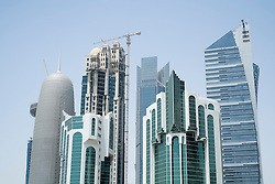 View of modern skyline with skyscrapers in business district of Doha Qatar