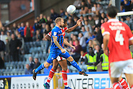 Matty Done heads at goal during the EFL Sky Bet League 1 match between Rochdale and Barnsley at Spotland, Rochdale, England on 21 August 2018.