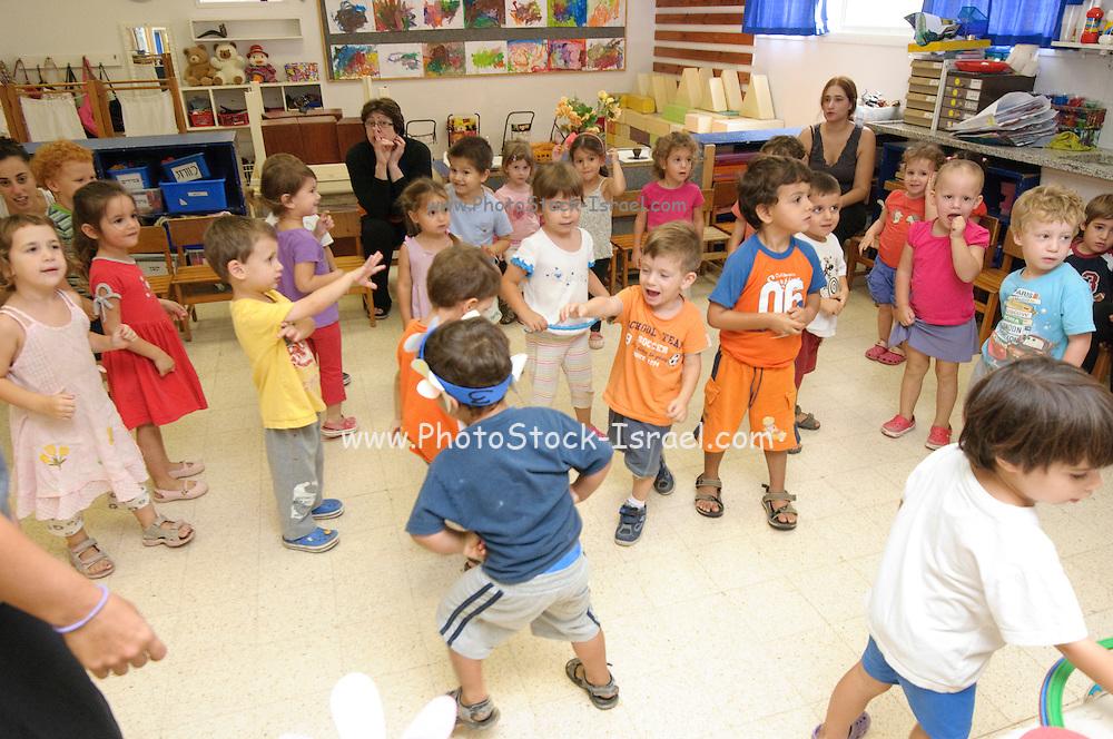 Israeli 3 year old children in a kindergarten