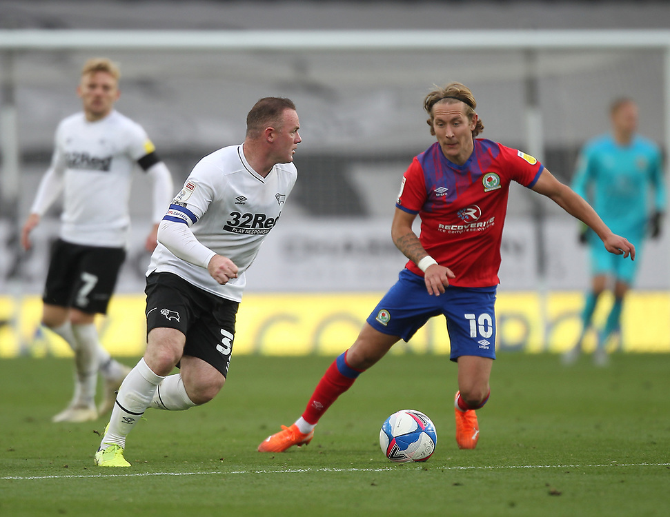 Blackburn Rovers' Lewis Holtby in action with  Derby County's Wayne Rooney<br /> <br /> Photographer Mick Walker/CameraSport<br /> <br /> The EFL Sky Bet Championship - Derby County v Blackburn Rovers - Saturday 26th September 2020 - Pride Park Stadium - Derby <br /> <br /> World Copyright © 2020 CameraSport. All rights reserved. 43 Linden Ave. Countesthorpe. Leicester. England. LE8 5PG - Tel: +44 (0) 116 277 4147 - admin@camerasport.com - www.camerasport.com