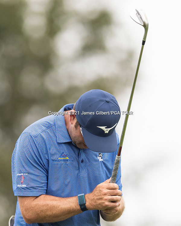 NEWBURGH, IN - SEPTEMBER 04: Dan McCarthy reacts after playing his shot from the 16th tee during the third round of the Korn Ferry Tour Championship presented by United Leasing and Financing at Victoria National Golf Club on September 4, 2021 in Newburgh, Indiana. (Photo by James Gilbert/PGA TOUR via Getty Images)