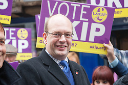 @Licensed to London News Pictures 15/11/2014. Kent , UK . UKIP Candidate Mark Reckless arrives outside the UKIP shop on High Street Rochester as the final weekend of the campaign for the Rochester and Strood by-election starts . Photo credit: Manu Palomeque/LNP