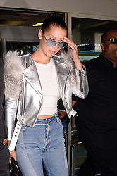Bella Hadid arrives at the airport ahead of the 70th Cannes Film Festival in Nice, France, on May 16, 2017. Photo by Julien Reynaud/APS-Medias/ABACAPRESS.COM