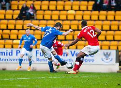 St Johnstone's James McFadden scoring their first goal.<br /> St Johnstone 2 v 1 Ross County, Scottish Premiership 22/11/2014 at St Johnstone's home ground, McDiarmid Park.