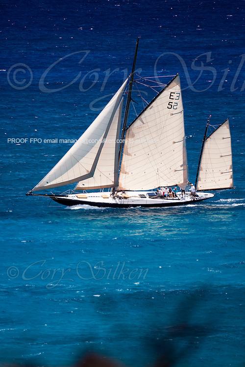 Kate sailing in the Antigua Classic Yacht Regatta, Windward Race.