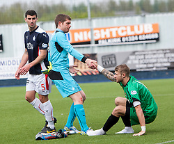 Falkirk's keeper Michael McGovern and Alloa Athletic's keeper Scott Bain  at the end before the news that Alloa stayed up<br /> Falkirk 3 v 1 Alloa Athletic, Scottish Championship game played today at The Falkirk Stadium.<br /> © Michael Schofield.