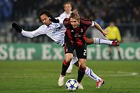 FOOTBALL - CHAMPIONS LEAGUE 2010/2011 - GROUP STAGE - GROUP G - AJ AUXERRE v MILAN AC - 23/11/2010 - MASSIMO AMBROSINI (MILAN) - ROY CONTOUT (AJA) - PHOTO FRANCK FAUGERE / DPPI
