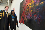 """18/04/2017 REPRO FREE:  <br /> President NUI, Galway Dr. Jim Browne with  MFA Graduate Joan Nanfuka at the Burren College of Art Exhibition.<br />  <br /> The Irish and  international graduates included Elizabeth Matthews, conferred with  a PhD for her research on Utopian studies , and six international graduates whose work on display in the BCA gallery addressed the ultimate question, """"who am I called to be"""" In her address President of the college Mary Hawkes Greene referred to the unique place based educational  model  committed to  individual student centred  education accredited by NUIGalway , and how it effectively  embraces the often conflicting forces of the global and the local, the public and the private as well as the collective and the individual. <br /> .  Photo:Andrew Downes, xposure"""