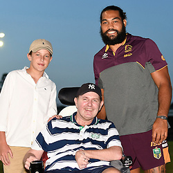 BRISBANE, AUSTRALIA - FEBRUARY 18: Adam Blair of the Broncos poses for a photo with fans before the QLD Rugby League Intrust Super Cup Pre-Season match between Wynnum Manly and Brisbane Broncos at Kougari Oval on February 18, 2017 in Brisbane, Australia. (Photo by Patrick Kearney/Wynnum Manly Seagulls)