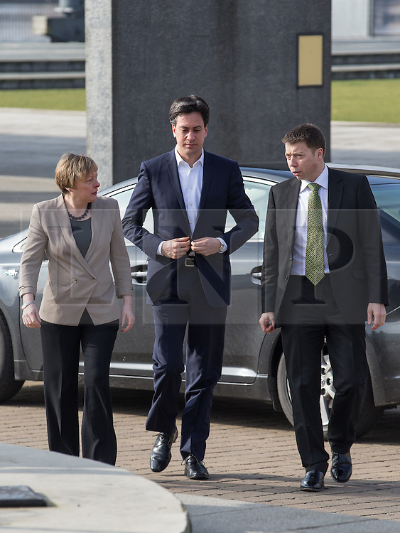 """© Licensed to London News Pictures . 01/03/2014 . London , UK . Iain McNicol , Ed Miliband and Angela Eagle arrive at the conference . The Labour Party hold a one day """" Special Conference """" at the Excel Centre in London today (Saturday 1st March 2014) . Photo credit : Joel Goodman/LNP"""