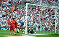 The free kick from Tranquillo Barnetta of Switzerland beats Joe Hart of England as Rio Ferdinand of England looks back , England v Switzerland, EURO 2012 Qualifying Group G  4/6/2011<br /><br />Photo Marc Atkins  Fotosports International