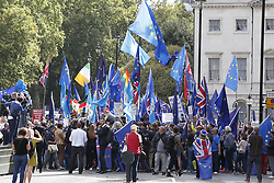 © Licensed to London News Pictures. 03/09/2019. London, UK. Anti Brexit demonstrators gather outside. Parliament. Parliament is returning from the summer recess today with MPs expected to try to stop a no-deal Brexit. Prime Minister Boris Johnson has threatened to hold a snap election if the legislation is passed. Photo credit: Peter Macdiarmid/LNP