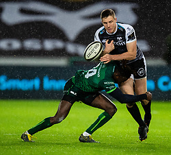 Tom Williams of Ospreys loses the ball in contact<br /> <br /> Photographer Simon King/Replay Images<br /> <br /> Guinness PRO14 Round 6 - Ospreys v Connacht - Saturday 2nd November 2019 - Liberty Stadium - Swansea<br /> <br /> World Copyright © Replay Images . All rights reserved. info@replayimages.co.uk - http://replayimages.co.uk