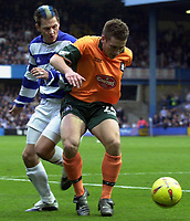 Picture: Raymond Field<br /><br />Queens Park Rangers v Plymouth Argyle nationwide league division two<br /><br />15/11/2003<br /><br />Marc Bircham trying to break through Luke McCormicks defence
