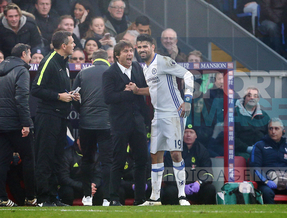 Chelsea's Diego Costa celebrates scoring his sides opening goal with Antonio Conte during the Premier League match at Selhurst Park Stadium, London. Picture date December 17th, 2016 Pic David Klein/Sportimage