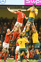 Rugby Union - 2017 Under Armour Series (Autumn Internationals) - Wales vs. Australia<br /> <br /> Adam Coleman  of Australia leaps to catch the ball at a lineout, at The Principality Stadium (Millennium Stadium).<br /> <br /> COLORSPORT/WINSTON BYNORTH