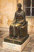 Marin Drzic statue in front of the Rectors Palace, old town Dubrovnik, Dalmatian Coast, Croatia