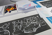 New York, NY - 1 April 2015. Ford offered an activity table with paper, crayons and etched automotive designs  from which attendees could make rubbings.