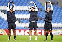 19/10/2004<br />Chelsea press conference and training session - Stamford Bridge.<br />Chelsea players (L to R) Glen Johnson, Frank Lampard and Eidur Gudjohnsson warm up before the training session.<br />Photo:Jed Leicester/BPI (back page images)