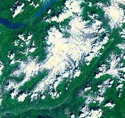 Aletsch Glacier, the largest glacier of Europe. Southern Switzerland. July 23, 2001. Satellite image.