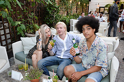 Left to right, ALEX BROWNSELL, DOMINIC JONES and BEN ROMANS-HOPCRAFT attending the Warner Bros. & Esquire Summer Party held at Shoreditch House, Ebor Street, London E1 on 18th July 2013.