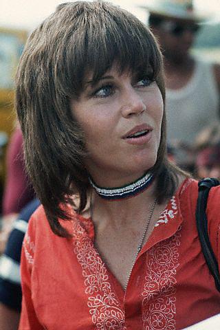 1970, Valley Forge, Pennsylvania, USA --- Actress and activist Jane Fonda attends an anti-Vietnam War rally at Valley Forge, Pennsylvania. The rally was sponsored by Vietnam veterans. --- Image by © Leif Skoogfors/CORBIS