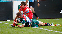 Rugby Union - 2019 / 2020 Gallagher Premiership - Leicester Tigers vs Sale Sharks<br /> <br /> Freddie Steward of Leicester Tigers scores a try at Welford Road.<br /> <br /> COLORSPORT/LYNNE CAMERON