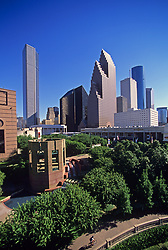 Stock photo of the downtown Houston skyline seen from the northwestern side
