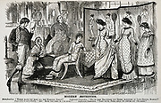 George du Maurier cartoon on the  fashionable Aesthetic Movement in the decorative arts. From 'Punch', ondon, 18878.
