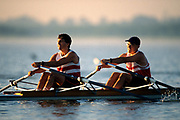 Men's pairs rowing team in action.