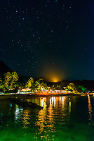 Starry sky over the Hilton Moorea Lagoon Resort, island of Moorea, French Polynesia.