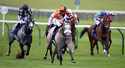 Major Jumbo ridden by Nicola Currie (centre) wins the Quy Mill Hotel & Spa Handicap during day one of The Bet365 Craven Meeting at Newmarket Racecourse, Newmarket.
