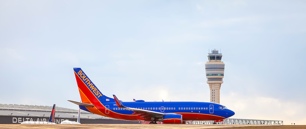 A Southwest Airlines jet about to depart from Atlanta's Hartsfield-Jackson International Airport.  <br />