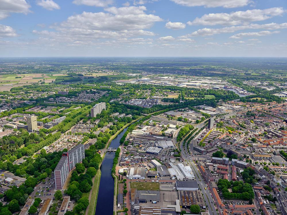 Nederland, Noord-Brabant, Tilburg, 14-05-2020; Wilhelminakanaal door Tilburg-Noord, Kanaalzone 1, Groeseind.<br /> <br /> luchtfoto (toeslag op standard tarieven);<br /> aerial photo (additional fee required);<br /> copyright foto/photo Siebe Swart