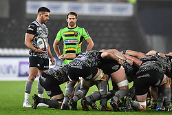 Ospreys' Rhys Webb prepares to put the ball in<br /> <br /> Photographer Craig Thomas/Replay Images<br /> <br /> EPCR Champions Cup Round 4 - Ospreys v Northampton Saints - Sunday 17th December 2017 - Parc y Scarlets - Llanelli<br /> <br /> World Copyright © 2017 Replay Images. All rights reserved. info@replayimages.co.uk - www.replayimages.co.uk