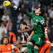 IBBSpor's goalkeeper Kenan Hasagic (R) during their Turkish superleague soccer match Besiktas between IBBSpor at BJK Inonu Stadium in Istanbul Turkey on Sunday, 11 December 2011. Photo by TURKPIX