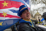 Prominent Brexit activist, Steve Bray protests on College Greeen in Westminster, the morning after another of Prime Minister Theresa Mays Brexit deal votes failed again in Parliament, on 13th March 2019, in London, England.