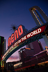 """""""Reno Arch at Sunset 1"""" - Photography of the Biggest Little City in the World Reno Arch at sunset in Downtown Reno, Nevada."""