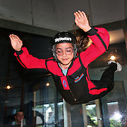 """AJ (age 12) """"Skydiving"""" in the wind tunnel, Sky Ventures, Nashua, New Hampshire."""