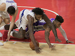 October 12, 2017 - Los Angeles, California, U.S - DeAndre Jordan #6 of the Los Angeles Clippers battles for the ball with Frank Mason III #10 of the Sacramento Kings during their preseason game on Thursday October 12, 2017 at the Galen Center in USC in Los Angeles, California. Clippers defeat Kings, 104-87. (Credit Image: © Prensa Internacional via ZUMA Wire)